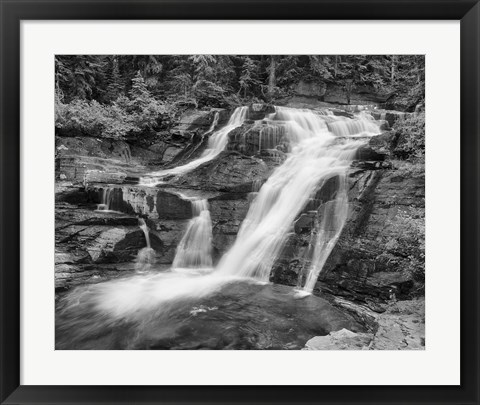 Framed Water Rushing Over Rock Under Trees Print