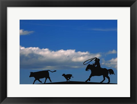 Framed Cowboy And Cows Silhouette Print