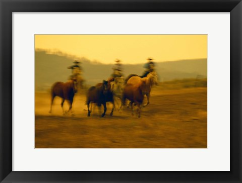 Framed Cowboys And Rushing Horses Print