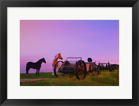 Framed Purple Dawn And Wagons Print