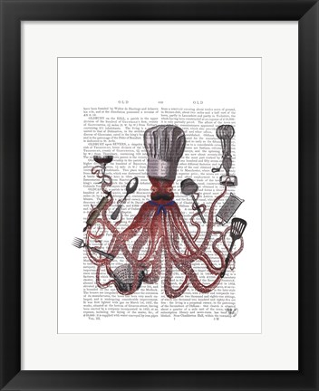 Framed Octopus Fabulous French Chef Print