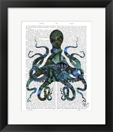 Framed Fishy Blue Octopus Print