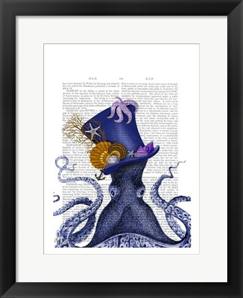 Framed Octopus Nautical Hat Print