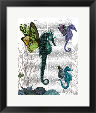 Framed Seahorse Trio With Wings Print