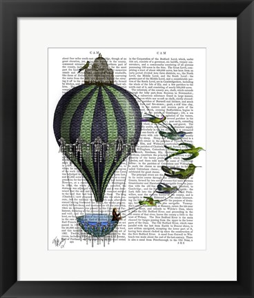 Framed Hot Air Balloon and Birds Print