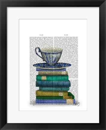 Framed Teacup and Books Print