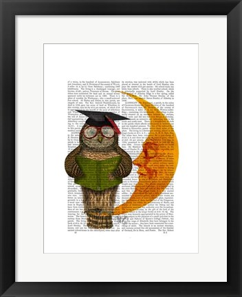 Framed Owl On The Moon Print