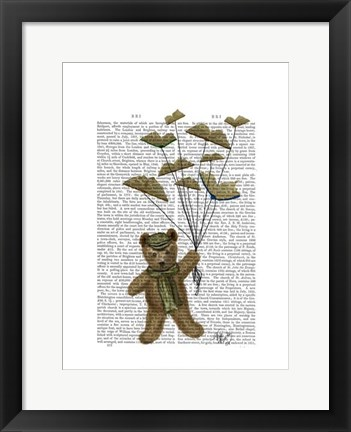 Framed Bear with Book Butterflies Print