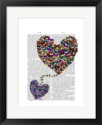 Framed Two Butterfly Hearts Print