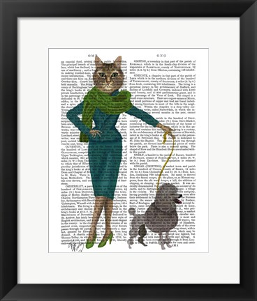 Framed Cat and Poodle Print