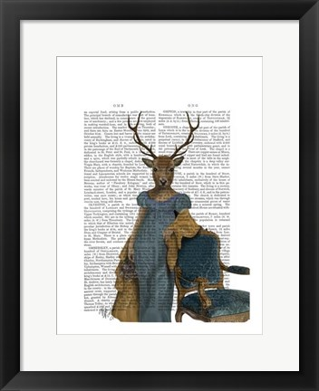 Framed Deer In Blue Dress Print