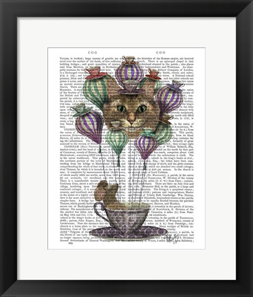 Framed Cheshire Cat Hot Air Balloon Print