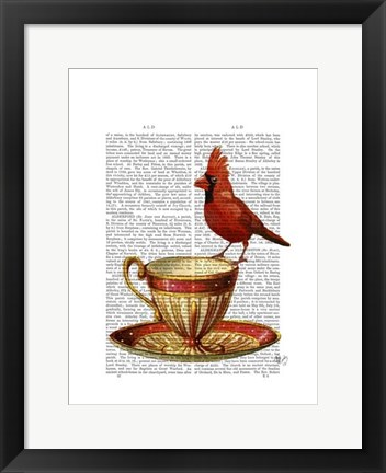 Framed Teacup And Red Cardinal Print