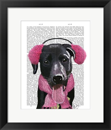 Framed Black Labrador With Ear Muffs Print