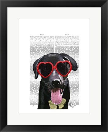 Framed Black Labrador With Heart Sunglasses Print