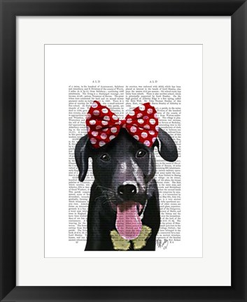 Framed Black Labrador With Red Bow On Head Print