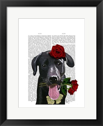 Framed Black Labrador with Roses Print