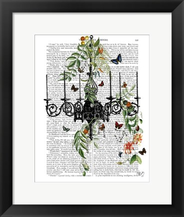 Framed Chandelier With Vines and Butterflies Print