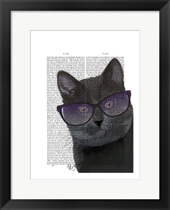 Framed Black Cat with Sunglasses Print