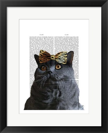 Framed Grey Cat with Leopard Bow Print