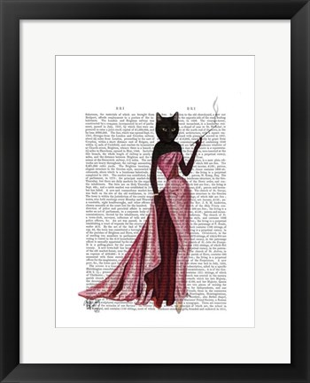 Framed Glamour Cat in Pink Print