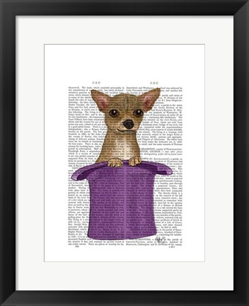 Framed Chihuahua in Top Hat Print