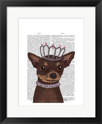 Framed Brown Chihuahua And Tiara Print