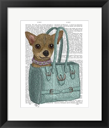 Framed Chihuahua In Bag Print
