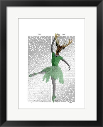 Framed Ballet Deer in Green I Print