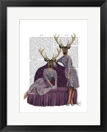 Framed Deer Twins in Purple Print