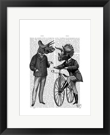 Framed Triceratops Men What Kind of Mileage Print