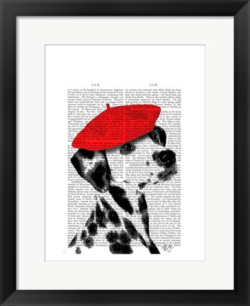 Framed Dalmatian With Red Beret Print