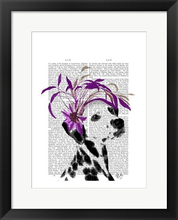 Framed Dalmatian With Purple Fascinator Print