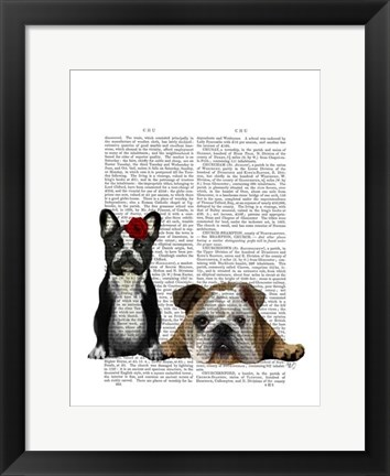Framed French Bulldog and English Bulldog Print