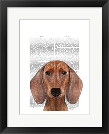Framed Dachshund Illustration Plain Print