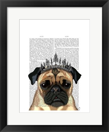 Framed Pug With Tiara Print