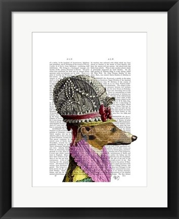 Framed Greyhound in 16th Century Hat Print