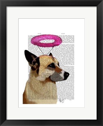 Framed German Shepherd With Pink Halo Print