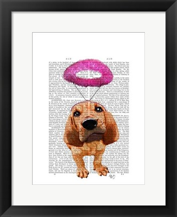 Framed Bloodhound With Angelic Pink Halo Print