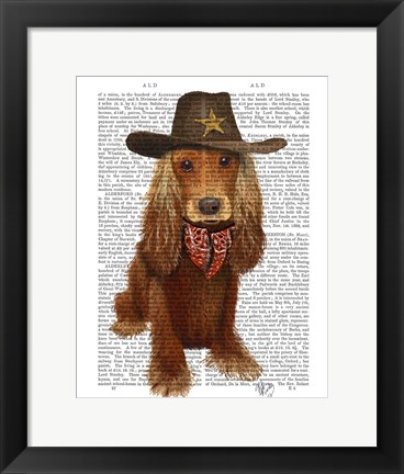 Framed Cocker Spaniel Cowboy Print