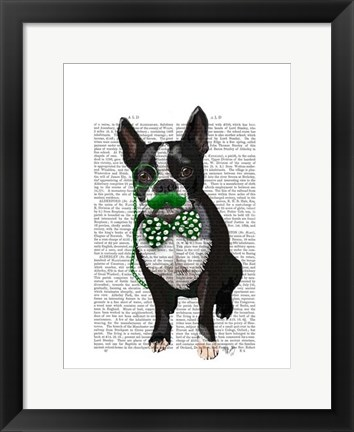 Framed Boston Terrier With Green Moustache And Spotty Green Bow Tie Print