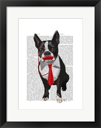 Framed Boston Terrier With Red Tie and Moustache Print