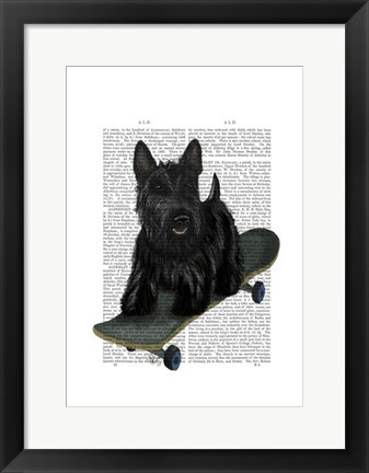 Framed Scottish Terrier and Skateboard Print