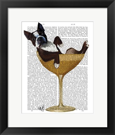 Framed Boston Terrier in Cocktail Glass Print