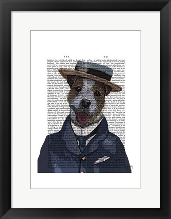 Framed Jack Russell in Boater Print