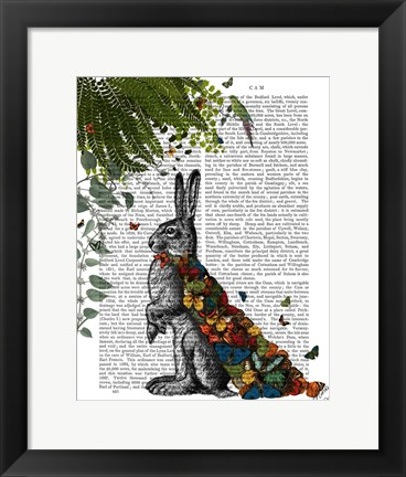 Framed Hare with Butterfly Cloak Print