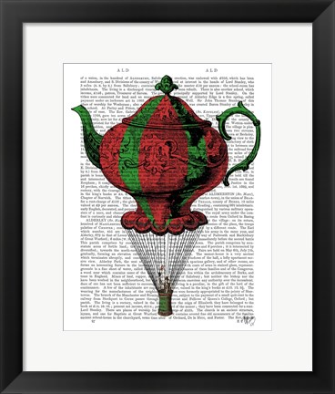 Framed Flying Teapot 2 Red and Green Print