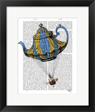 Framed Flying Teapot 3 Blue and Yellow Print