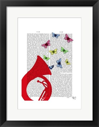 Framed Tuba with Butterflies Print