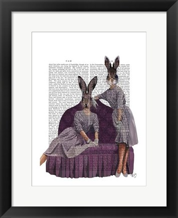 Framed Rabbits in Purple Print